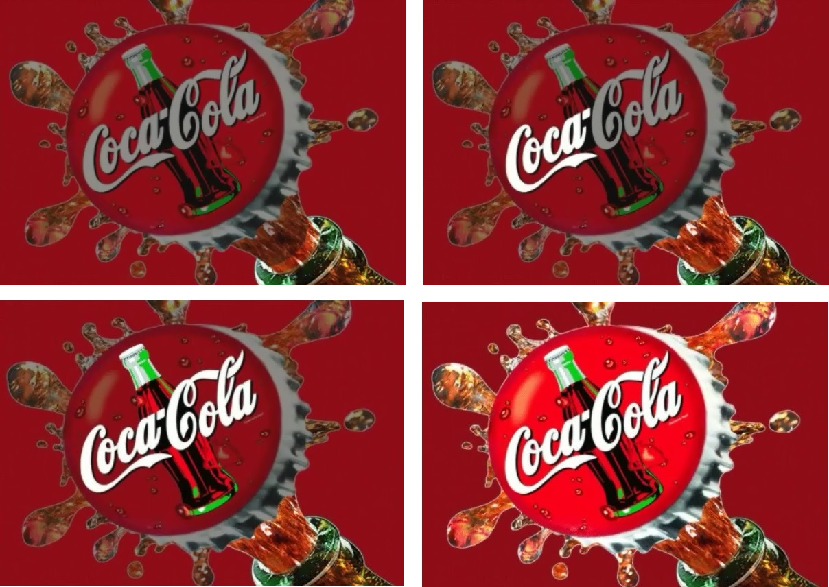 EL display Image sequence of Coke Bottle Top, poping off.